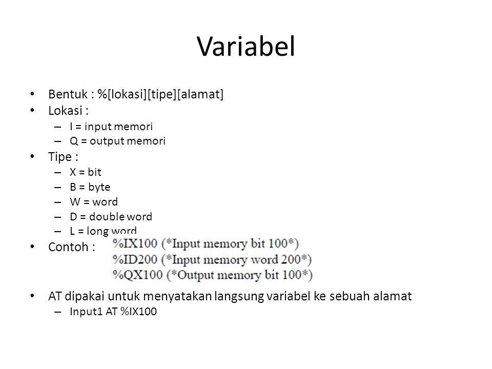 Variabel Bentuk : %[lokasi][tipe][alamat] Lokasi : Tipe : Contoh :